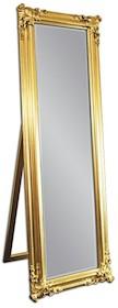 Eleganckie, podłogowe lustro w efektownej ramie. Rama lustra wykonana jest z drewna i pokryta złotym szlagmetalem. Szlagmetal to cieniutkie listki metalu...