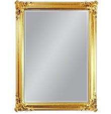 Wyjątkowe lustro w pozłacanej, pięknie ozdobionej ramie. Rama lustra wykonana jest z drewna i pokryta złotym szlagmetalem. Szlagmetal to cieniutkie listki...