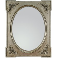 Wyjątkowo zdobione lustro w oryginalnej i nietuzinkowej ramie. Rama lustra wykonana jest z drewna i pokryta srebrnym szlagmetalem (przecieranym). Można je...