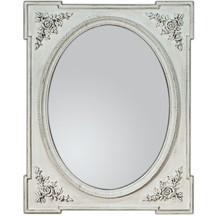 Wyjątkowe i przyciągające swym urokiem, uwagę lustro. Rama lustra wykonana jest z drewna i pokryta białym lakierem (przecieranym). Można je wieszać w...
