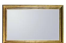 wymiar lustra razem z ramą (cm) 80x120 szerokość ramy (cm) 9 Rama lustra wykonana jest z drewna. Pokryta jest złotym, przecieranym i postarzanym...