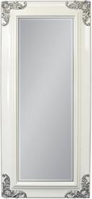 Rama lustra wykonana jest z drewna i pokryta białym lakierem. Tafla lustra jest kryształowa, posiada fazę. Lustro można wieszać w pionie oraz w poziomie....