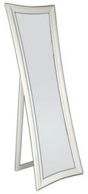 Eleganckie, nowoczesne lustro stojące w białej ramie. Rama lustra wykonana jest z drewna i pokryta białym lakierem. Po zdemontowaniu nóżki lustro można...