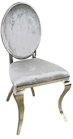 Krzesło wykonane jest z polerowanej stali nierdzewnej w kolorze srebrnym. Tkanina obiciowa jest srebrna (jasny popiel).  Wymiary:  - szerokość (cm) 50...