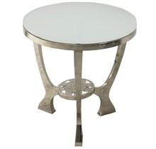 Stolik wykonany jest ze stali nierdzewnej. Blat jest z hartowanego szkła.  Wymiary:  szerokość (cm) 55 głębokość (cm) 55 wysokość (cm) 58