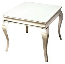 Stół wykonany jest ze stali nierdzewnej. Blat jest z białego, hartowanego szkła.  Wymiary: - szerokość (cm) 60 - głębokość (cm) 60 - wysokość...