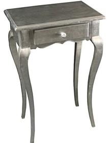 Stylowa Komódka w kolorze srebrnym, wykonana z wysokiej jakości drewna, pokryta srebrnym (szlagmetalem), posiada stylizowane nóżki.  Szlagmetal to...