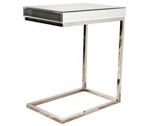 Stolik wykonany jest ze szkła (lustro) oraz chromowanej stali nierdzewnej. Elementy lustrzane posiadają fazę  Wymiary:  szerokość (cm) 47...