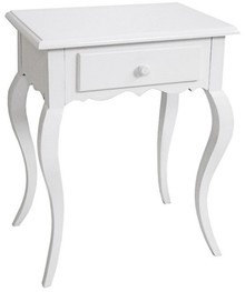 Stylowa komódka w kolorze białym (lakier), wykonana z wysokiej jakości drewna, posiada stylizowane nóżki.  Komódka ma szufladę na drobne przedmioty....