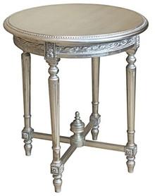 Stylowy okrągły rzeźbiony stolik w kolorze srebrnym, wykonany z wysokiej jakości drewna, pokryty srebrnym (szlagmetalem).  Szlagmetal to cieniutkie...
