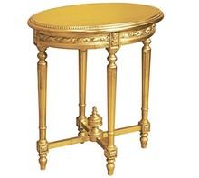 Stylowy owalny rzeźbiony stolik w kolorze złotym (szlagmetal), wykonany z wysokiej jakości drewna, pokryty złotym (szlagmetalem).  Szlagmetal to...