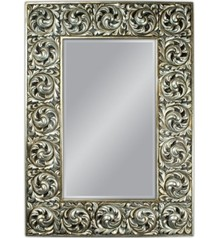 Lustro charakteryzuje się pięknie, ciekawie zdobioną, postarzaną ramą. Rama lustra wykonana jest z masy PU i pokryta srebrnym szlagmetalem. Szlagmetal to...