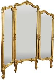 Rama wykonana jest z masy PU. Pokryta jest złotym szlagmetalem. Tafla lustra jest kryształowa.  Wymiary:  Wymiar środkowego elementu (cm) 70x175...