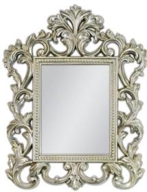 Śliczne lustro w bardzo bogato zdobionej ramie. Rama lustra wykonana jest z masy PU i pokryta srebrnym szlagmetalem. Szlagmetal to cieniutkie listki metalu...