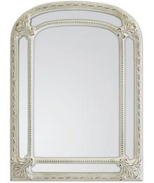Rama lustra wykonana jest z masy PU. Pokryta jest białym, przecieranym lakierem. Lustro dostępne jest w kolorze srebrnym, złotym oraz białym przecieranym....