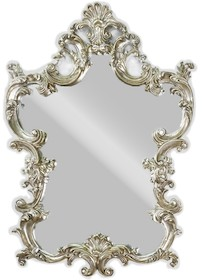 Rama lustra wykonana jest z masy PU i pokryta srebrnym, delikatnie wpadającym w złoto szlagmetalem. Szlagmetal to cieniutkie listki metalu ręcznie...