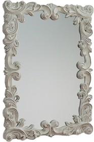Rama lustra wykonana jest z masy PU. Pokryta jest białym, przecieranym lakierem. Tafla lustra jest kryształowa. Lustro można wieszać w pionie oraz w...