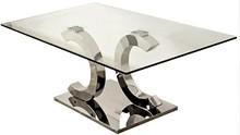 Stół wykonany jest ze stali nierdzewnej. Blat jest ze szkła hartowanego.  Wymiary:  - szerokość (cm) 150 - głębokość (cm) 90 - wysokość (cm) 75