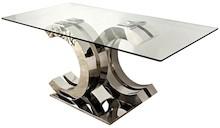 Stół wykonany jest ze stali nierdzewnej. Blat jest ze szkła hartowanego.  Wymiary:  - szerokość (cm) 180 - głębokość (cm) 90 - wysokość (cm) 75