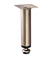 Nóżka meblowa wysokości 10cm kolor Satyna Ruchoma stopka z regulacją zakres regulacji max. + 2cm wymiary płytki montażowej 6cm x 6cm