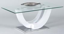 Stolik kawowy SWING to ciekawy designerski stolik łączący szkło, metal i biały połysk.  Wymiary: - Długość: 120 cm, - Szerokość: 60...