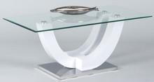 Stolik kawowy BRUNO to ciekawy designerski stolik łączący szkło, metal i biały połysk. Stolik posiada blat ze szkła hartowanego, nogę w kolorze dąb...