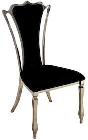 Krzesło wykonane jest z polerowanej stali nierdzewnej w kolorze srebrnym. Tkanina obiciowa jest czarna.  Wymiary:  - szerokość (cm) 52 - głębokość...