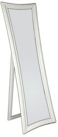Eleganckie, nowoczesne lustro stojące w białej ramie. Rama lustra wykonana jest z drewna i pokryta białym lakierem (przecieranym). Po zdemontowaniu nóżek...