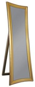 Piękne nowoczesne lustro, w prostej lecz eleganckiej ramie. Idealnie wpasuje się w każdą sypialnię. Rama lustra wykonana jest z drewna i pokryta złotym...