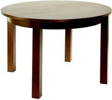 Stół o średnicy 120 cm, rozkładany za pomocą prowadnicy teleskopowej. Dodatkowe nóżki poziomują blat stołu. Wkłady stołu przechowywane poza blatem...