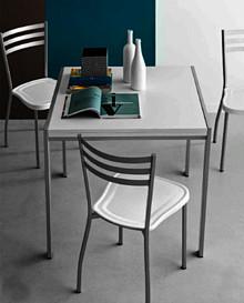 Włoski Stół ALADINO  Wymiary:  wysokość: szerokość: 80 (160) cm głębokość: 80 cm  Warianty kolorystyczne:  podstawa: metal - biały...