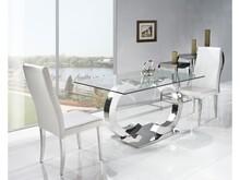 Stół Chanel Design  Materiał wykonania: -stal nierdzewna polerowana -hartowane szkło 12mm  Wymiary : 150/90/75 cm