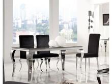 Nowoczesny stół Glamur model T780D Blat stołu wykonany jest z czarnego hartowanego szkła o grubości 12 mm Podstawa blatu oraz nogi wykonane są ze stali...