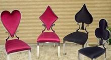 Zestaw czterech welurowych krzeseł POKER - czarny/czerwony