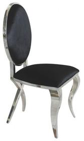 Krzesło Medalion Y815  Materiał wykonania: - Stal nierdzewna polerowana - czarny welur lub biała eko-skóra  Wymiary: 50/50/100 cm