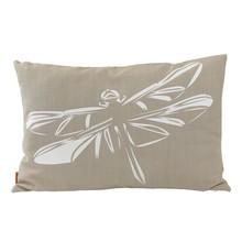 Oryginalna, duża poduszka z białą grafiką ważki. Wykonana z tkaniny lnianej, w kolorze beżowym. Zdejmowana poszewka z zamkiem.