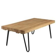 Oryginalny stolik kawowy, ręcznie woskowany i wykańczany, na lekkich stalowych nóżkach w kolorze czarnym.  Blat wykonany jest z różnych typów drewna....