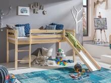 ASINO łóżko dziecięce na antresoli.  Komplet ASINO zawiera: Konstrukcję drewnianą łóżka wraz ze zjeżdżalnią i drabinką (możliwość montażu...
