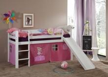 LEONE łóżko dziecięce.  Komplet LEONE zawiera: Konstrukcję drewnianą łóżka wraz ze zjeżdżalnią i drabinką (możliwość montażu drabinki i...