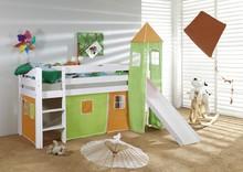 ORSO łóżko dziecięce.  Komplet ORSO zawiera: Konstrukcję drewnianą łóżka wraz ze zjeżdżalnią i drabinką (możliwość montażu drabinki i...