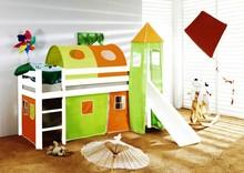 Łóżko dziecięce ORSO+TUNEL zielono-pomarańczowe