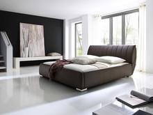 Łóżko CZECH z pojemnikiem na pościel o bardzo oryginalnej stylistyce, wykonane z miękkiej ekoskóry. Solidna rama z drewna, nogi metalowe chromowane. ...