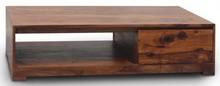 Stolik kawowy drewniany, loft, industrialny w skandynawskim stylu z 2 szufladami