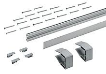 Zestaw składa się z: 1 szt. profilu jezdnego, aluminium anodowane, z otworami 2 szt. klipsów montażowych Śrub mocujących Grubość półki - 18, 19...