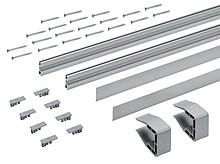Zestaw składa się z: 2 szt. profili jezdnych, aluminium anodowane, z otworami 2 szt. klipsów montażowych Materiałów do mocowania   Grubość półki...