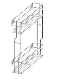 CARGO MINI boczne prawe, 2-poziomowe do szafki szerokości 20cm. Kolor - lakier biały Prowadnice boczne Rejs z hamulcem dł.45cm, wysuw 100% Z mocowaniem...
