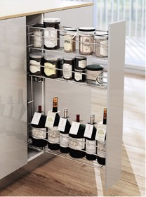 CARGO MINI boczne lewe na przyprawy i butelki 3-poziomowe do szafki szerokości 15cm. Kolor lakier biały Prowadnice boczne Rejs z miękkim dociągiem...