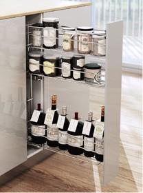 CARGO MINI boczne prawe na przyprawy i butelki 3-poziomowe do szafki szerokości 15cm. Kolor lakier biały Prowadnice boczne Rejs z miękkim dociągiem...