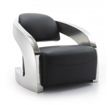 Fotel jedno-osobowy YH-120 Materiał wykonania: - naturalna skóra - stal nierdzewna polerowana Wymiary :  -głębokość: 82 cm -szerokość: 96 cm...