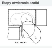 CORNER OPTIMA 2 Półki Do Szafki Narożnej 800x450 Prawe NERKA - Rejs